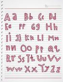Alphabet kiddies doodle and stripe — Stock Vector