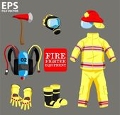 FIRE FIGHTER EQUIPMENT — Stock Vector