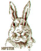 Hipster rabbit 3d color view effect — Stockvector