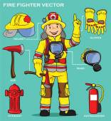 FIRE FIGHTER AND RESCUE — Stock Vector