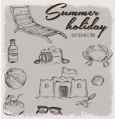 Summer holiday with vintage sketch vector — Stock Vector