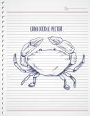 Doodle crab — Vetor de Stock