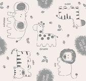Cute animals cartoon pattern — Stock Vector