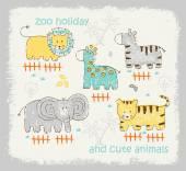 Cute animals cartoon — Stok Vektör