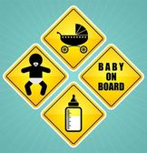 Baby on board sign element set — Stock Vector