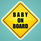 Baby on board sign label — Stock Vector