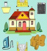 Home spullen doodle kunst patroonkleur — Stockvector
