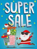 Christmas super sale poster or illustration — Stock Vector