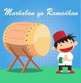 Rapaz muçulmano e cavammais ou tradicional e cultural islâmico — Vetor de Stock