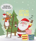 Santa and reindeer preparing christmas — Stock Vector