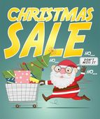 Santa claus and christmas sale poster — Stock Vector