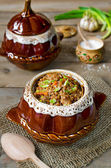 Buckwheat with meat in the pot — Stock Photo