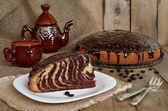 Pie Zebra with chocolate icing — Stock Photo
