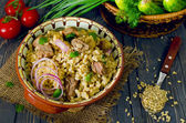 Pearl barley with meat — Stock Photo