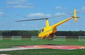 Small yellow helicopter — Stock Photo