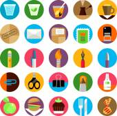 Office and munchies flat icons set — Stock Vector
