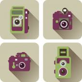 Retro cameras icons set — Vector de stock