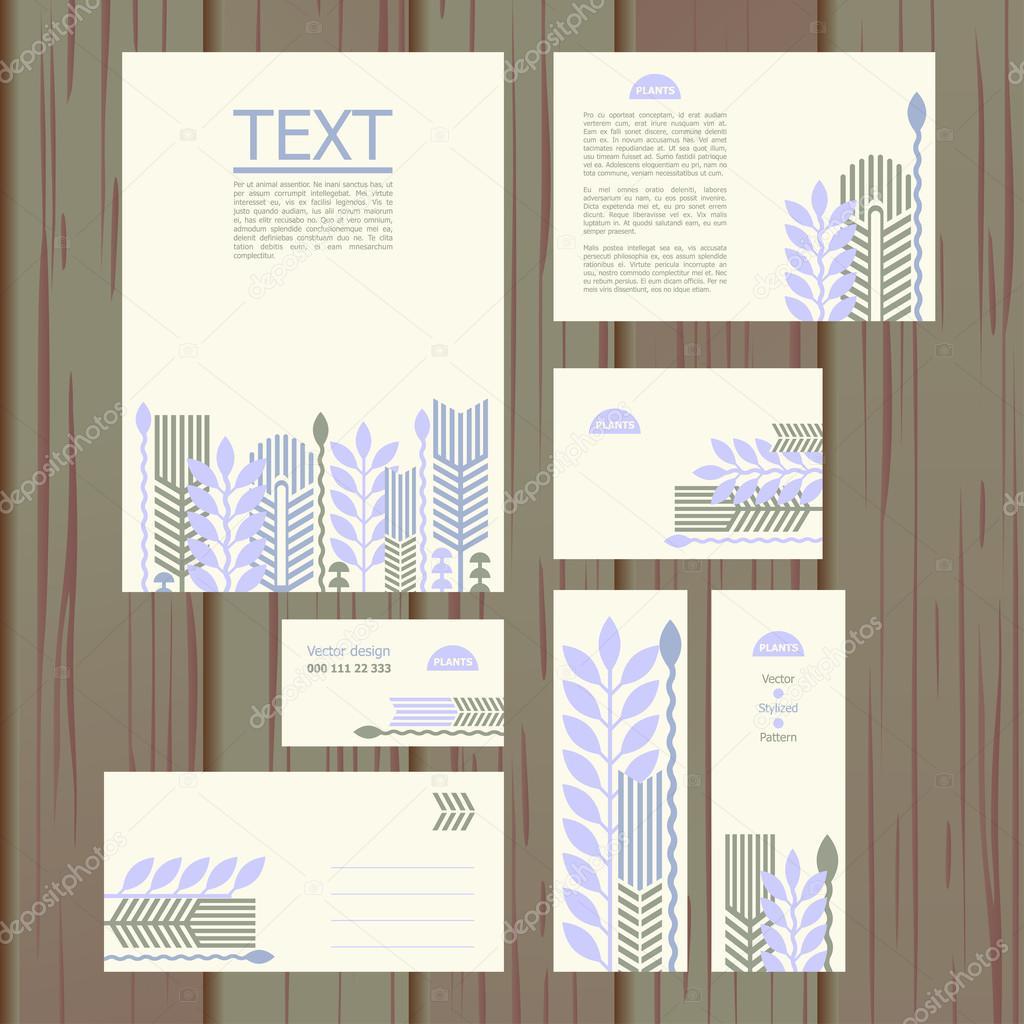 set di modelli con motivi floreali vettoriali stock copy manchicken vector pattern linear composition of plants a4 a5 a6 envelope ing card and flyer formats vettoriali di manchicken