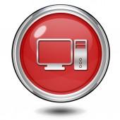 Computer circular icon on white background — Stock Photo