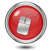 Computer mouse circular icon on white background — Stock Photo
