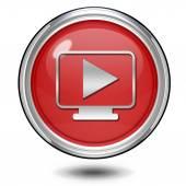 Play circular icon on white background — Stock Photo