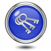 Key circular icon on white background — Stock Photo