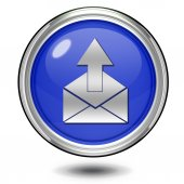 Enviar o ícone circular sobre fundo branco — Fotografia Stock