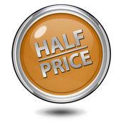 Half price circular icon on white background — Stock Photo