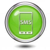 Sms circular icon on white background — Stock Photo