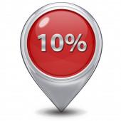 Ten percent pointer icon on white background — Стоковое фото