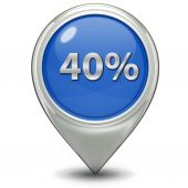 Forty percent pointer icon — Stockfoto