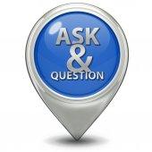 Q&a значок указателя на белом фоне — Стоковое фото