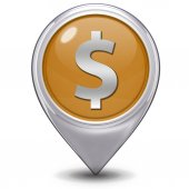 Money pointer icon on white background — Stock Photo