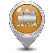 Call now pointer icon on white background — Stock Photo