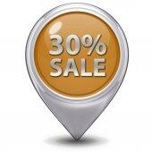 Значок указателя 30% продажи на белом фоне — Стоковое фото