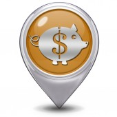 Dollar pig pointer icon on white background — Stock Photo