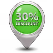 Discount thirty percent pointer icon on white background — Stock Photo