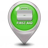 Icona del puntatore di pronto soccorso su priorità bassa bianca — Foto Stock