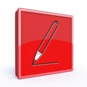 Bleistift-Quadrat-Symbol auf weißem Hintergrund — Stockfoto