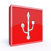 Usb square icon on white background — Stock Photo
