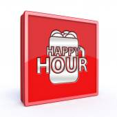 Happy hour square icon — Stock Photo