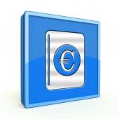 Euro dinero libro cuadrado en icono de fondo blanco — Foto de Stock