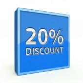 Discount twenty percent square icon on white background — Zdjęcie stockowe