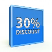 Discount thirty percent square icon on white background — Foto de Stock