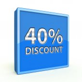 Discount forty percent square icon on white background — Foto de Stock