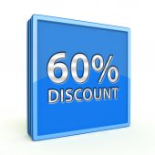 Discount sixty percent square icon on white background — Foto de Stock