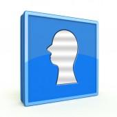 Head silhoulette square icon on white background — Stockfoto