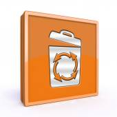 Recycle square icon on white background — Stock Photo