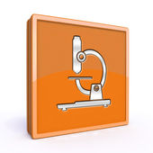 Microscope square icon on white background — 图库照片
