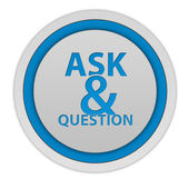 Q&A circulaire pictogram op witte achtergrond — Stockfoto